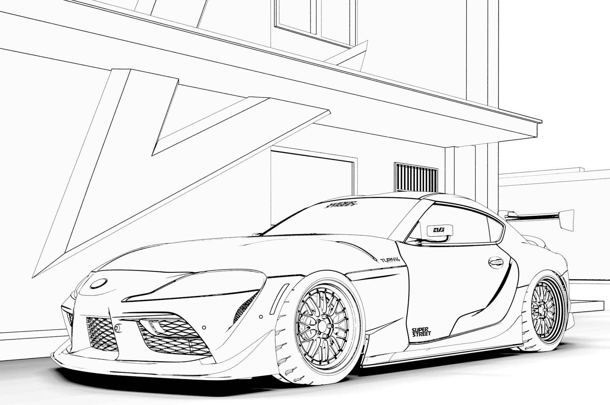 Car Coloring Pages Toyota Supra Ferrari F40 Nissan Gt R Mclaren 720s Lamborghini Huracan Free Downloads